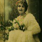 Vintage Christmas: Edwardian Lady with Evergreens, Joyeux Noël by VictorianTrends