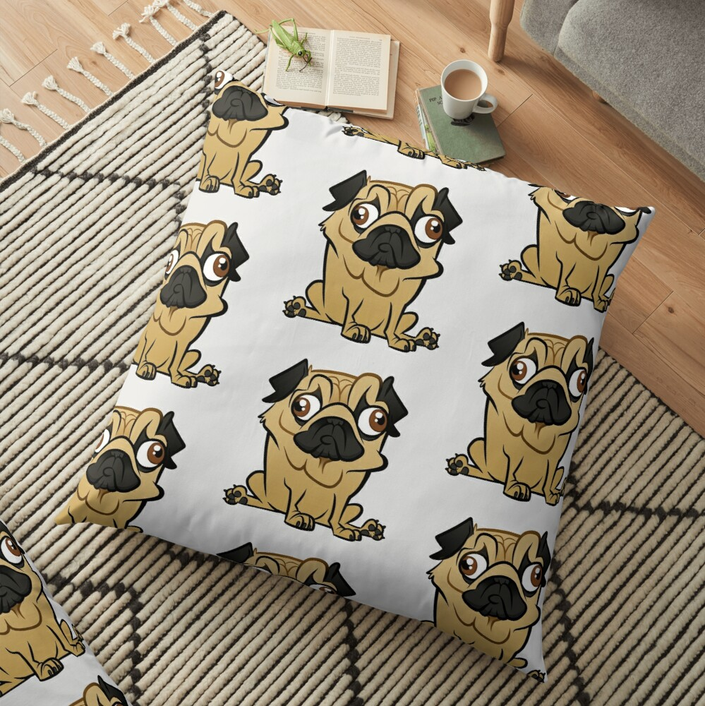 Pug Caricature Floor Pillow