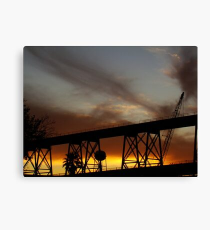 Sunset On The Huey P. Long Bridge Railroad  Canvas Print