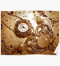 """""""A Vintage Timepiece In Sepia"""" Poster"""