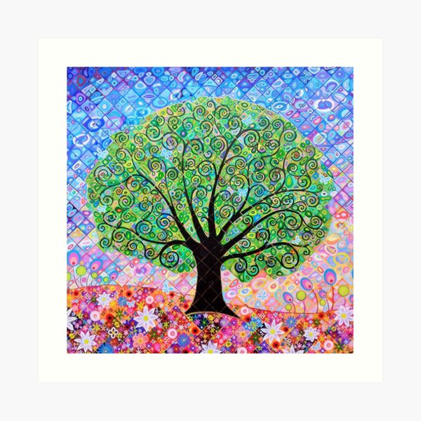 Tree of Life with Blue Butterflies Art Print