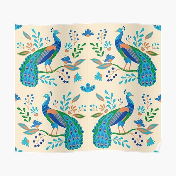 Folk Peacocks Poster