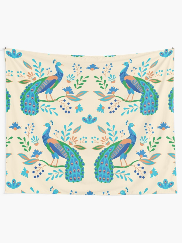 Alternate view of Folk Peacocks Tapestry
