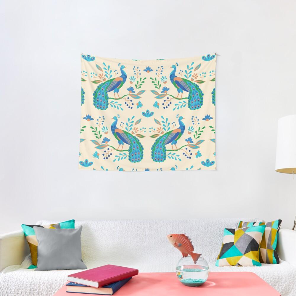 Folk Peacocks Tapestry