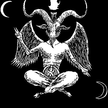 Baphomet Winged Man T-Shirt Goat Head Long Curved Horn and Two Crescent Moon by kraftd