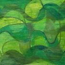 Abstract Green Wave Connection by Annette Marionneaux Stevenson