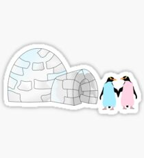 Pastel Penguins and Igloo Sticker