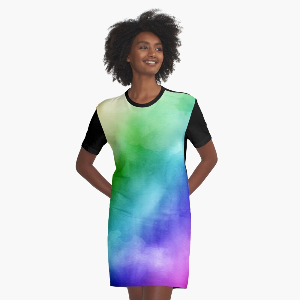 Rainbow Watercolors Graphic T-Shirt Dress Front