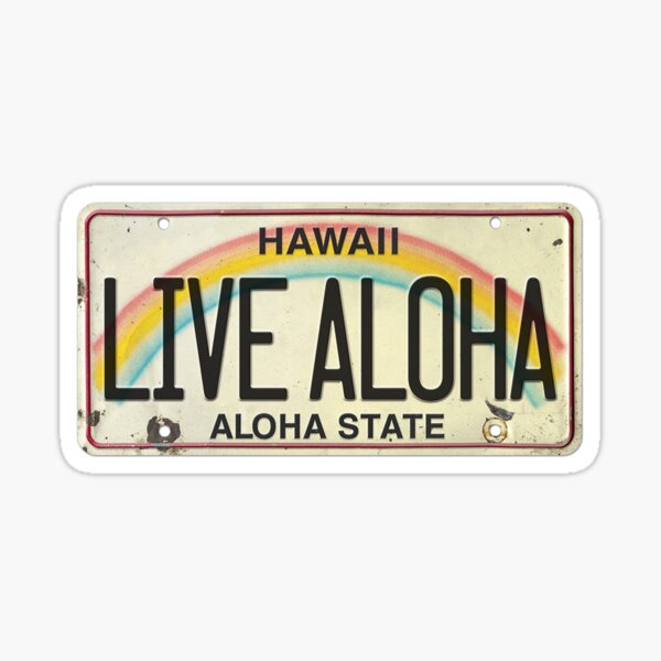 Vintage Hawaii License Plate Live Aloha Sticker