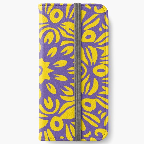Floral Burst, Dark Purple & Yellow Mandala 22 iPhone Wallet