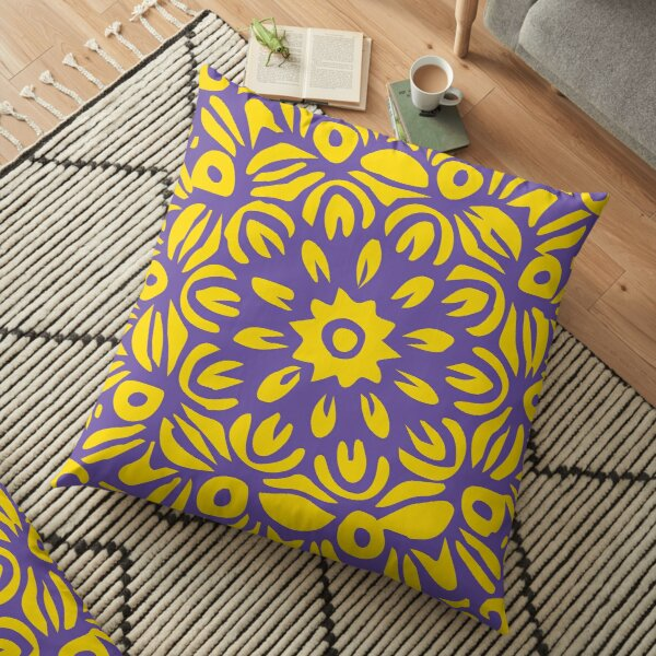 Floral Burst, Dark Purple & Yellow Mandala 22 Floor Pillow