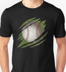 Baseball Ball Shirt Claw Ripped Sport Player  Slim Fit T-Shirt