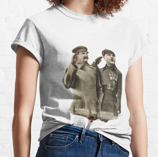Political Poster, #Stalin #Soviet #Propaganda #Posters #twopeople #matureadult #adult #standing #militaryofficer #militaryperson #military #people #uniform #army #portrait #militaryuniform #war #realpeople #men #males Classic T-Shirt