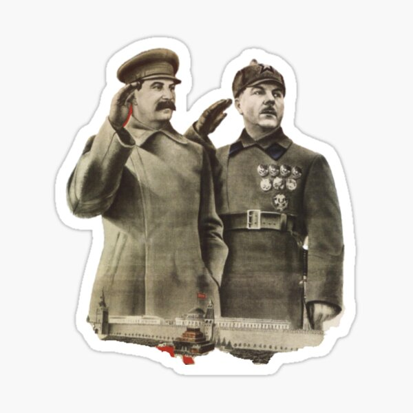 #Stalin #Soviet #Propaganda #Posters #twopeople #matureadult #adult #standing #militaryofficer #militaryperson #military #people #uniform #army #portrait #militaryuniform #war #realpeople #men #males Sticker