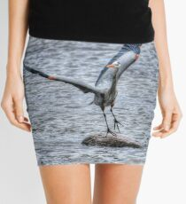Great Blue Heron Departing Mini Skirt