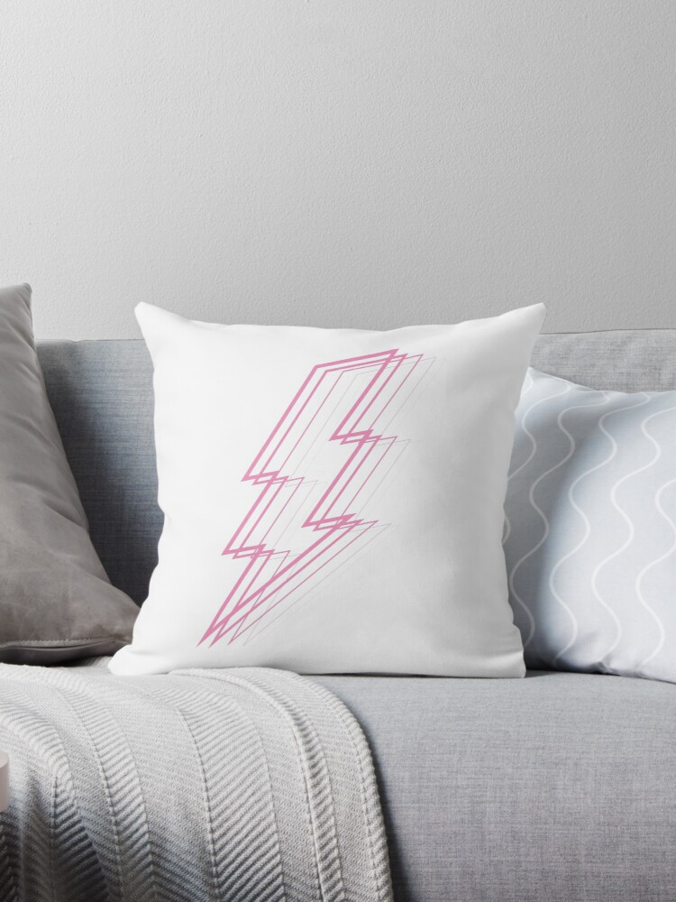 Pink Lightning Throw Pillow By Feliciasdesigns Redbubble