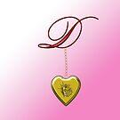 D Golden Heart Locket by Chere Lei
