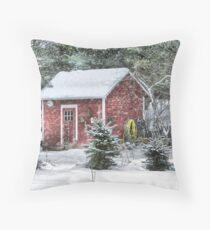Little Red Garden Shed Throw Pillow