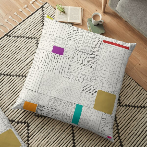 SquiggySquaresMulti Floor Pillow