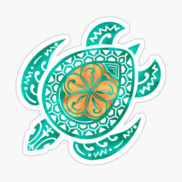 Tortue aquarelle Maui Plumeria Sticker