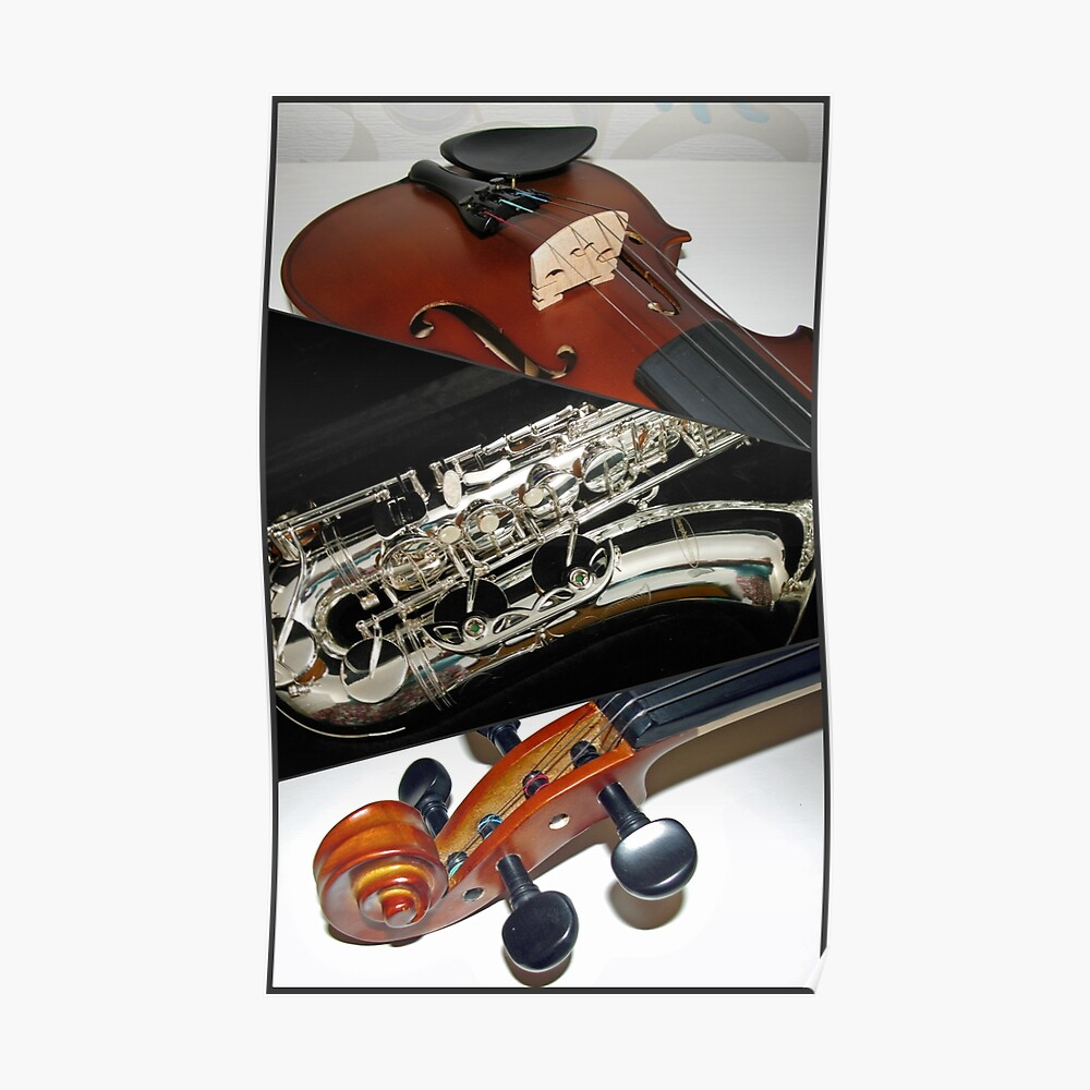 Violin and Saxophone Collage Poster