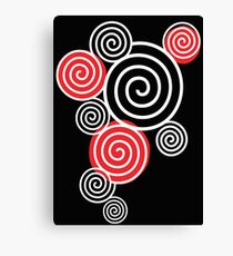 White Spirals with red Canvas Print