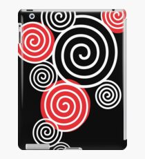 White Spirals with red iPad Case/Skin