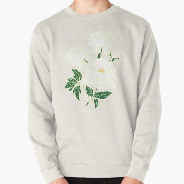 White Peonies Pullover Sweatshirt
