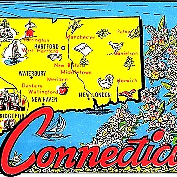 Connecticut Animated Map Vintage Travel Decal by hilda74