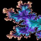 Fancy Bronzed Blue and Purple Leafy Fractal Abstract by Shelli Fitzpatrick