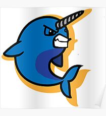 Cartoon Narwhal Art Sport Logo Poster