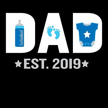 Funny New Dad Est. 2019 Promoted to Daddy Gift by JapaneseInkArt