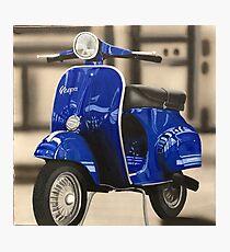 Blue Vespa Photographic Print