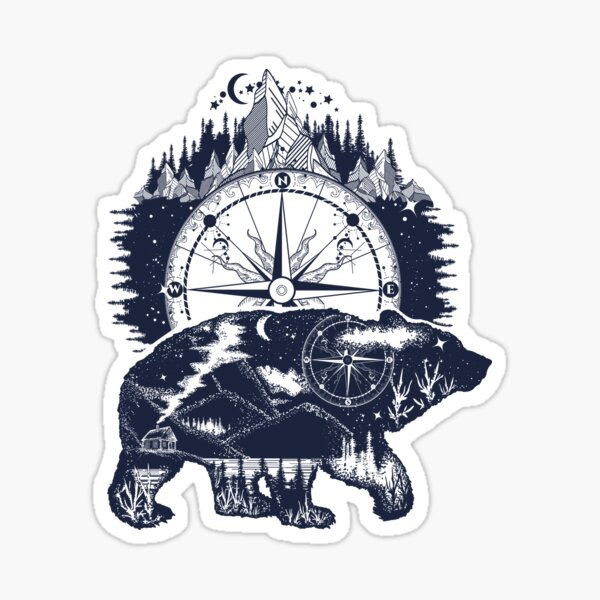 Bear and compass Sticker