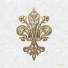 Gold Filigree Fleur-de-Lis over White Leather by Serge Averbukh