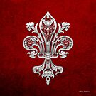 Silver Filigree Fleur-de-Lis over Red Velvet by Serge Averbukh