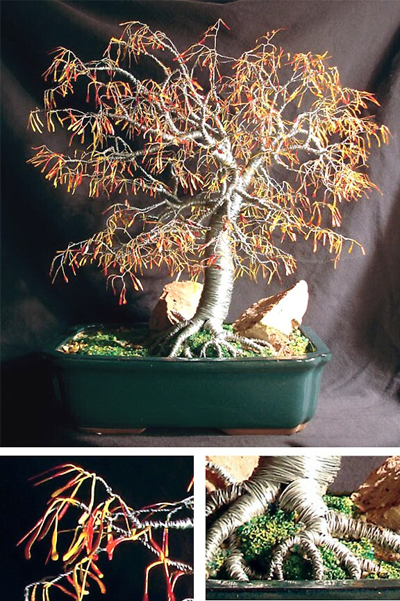 Autumn Bonsai, wire tree sculpture by Sal Villano
