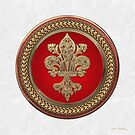 Gold Filigree Fleur-de-Lis on Gold and Red Medallion over White Leather by Serge Averbukh