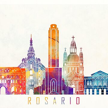 Rosario landmarks watercolor poster by paulrommer