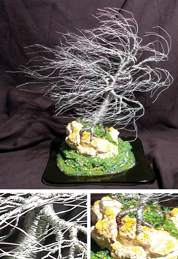 Coral Wind Swept, wire tree sculpture by Sal Villano