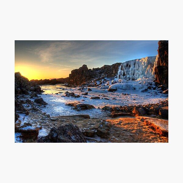 Thingvellir Frozen Waterfall Photographic Print