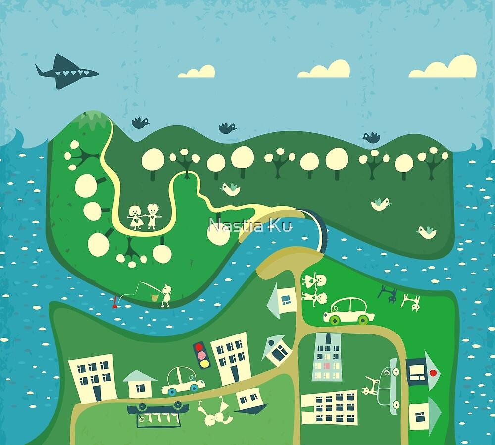 cartoon map by ychty