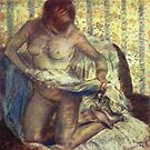 Edgar Degas French Impressionism Oil Painting Nude Woman Drying After Bath by jnniepce