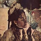 Edgar Degas French Impressionism Oil Painting Woman with Umbrella by jnniepce