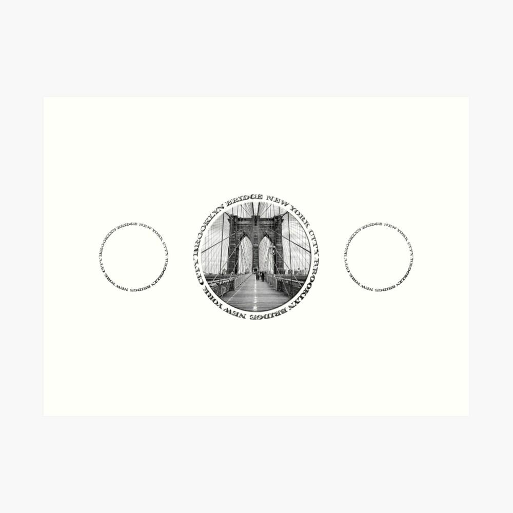 Brooklyn Bridge New York City (black & white triple badge style on white) Art Print