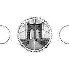 Brooklyn Bridge New York City (black & white triple badge style on white) by Ray Warren