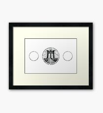 Brooklyn Bridge New York City (black & white triple badge style on white) Framed Print