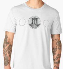 Brooklyn Bridge New York City (black & white triple badge emblem on white) Men's Premium T-Shirt