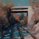 Highway overpass on the railroad tracks by AheadForDinci