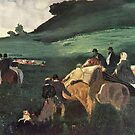 Edgar Degas French Impressionism Oil Painting Men on Horses in Field by jnniepce